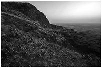 Basalt Cliff, Saddle Mountain, dawn, Hanford Reach National Monument. Washington ( black and white)