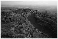Basalt Cliff and hardened lava flow, Saddle Mountain, Hanford Reach National Monument. Washington ( black and white)