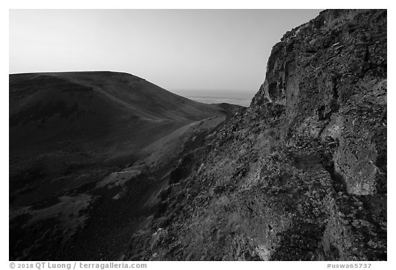 Basalt cliff and Saddle Mountain at sunrise, Hanford Reach National Monument. Washington (black and white)