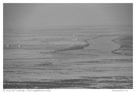 Distant Columbia River and nuclear reactors, Hanford Reach. Washington (black and white)