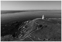 Aerial view of Cattle Point Lighthouse, San Juan Island. Washington ( black and white)