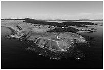 Aerial view of Cattle Point, San Juan Island. Washington ( black and white)