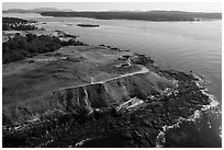 Aerial view of Cattle Point and Lopez Island, San Juan Island. Washington ( black and white)