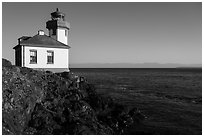 Lime Kiln Lighthouse and Haro Strait, Lime Point State Park, San Juan Island. Washington ( black and white)