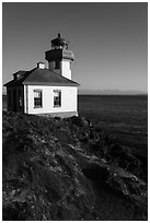 Lime Kiln Lighthouse, Lime Point State Park, San Juan Island. Washington ( black and white)