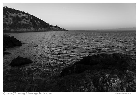 Coastline at sunset, Lime Point State Park, San Juan Island. Washington (black and white)
