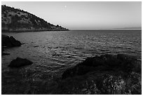 Coastline at sunset, Lime Point State Park, San Juan Island. Washington ( black and white)
