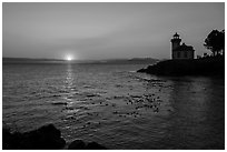 Sunset, Lime Kiln Lighthouse, San Juan Island. Washington ( black and white)