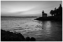Lime Kiln Lighthouse at sunset, Lime Point State Park, San Juan Island. Washington ( black and white)