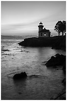 Lime Kiln Lighthouse at dusk, Lime Point State Park, San Juan Island. Washington ( black and white)