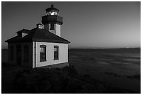 Lime Kiln Lighthouse and Haro Strait at dusk, Lime Point State Park, San Juan Island. Washington ( black and white)