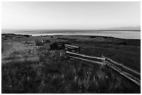 Wooden fence, Cattle Point, Sunrise, San Juan Islands National Monument, San Juan Island. Washington ( black and white)