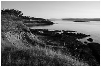 Cattle Point coastline with Lopez Island, San Juan Islands National Monument. Washington ( black and white)