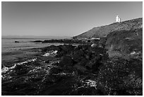 Rocky coastline and Cattle Point Lighthouse, San Juan Islands National Monument, San Juan Island. Washington ( black and white)