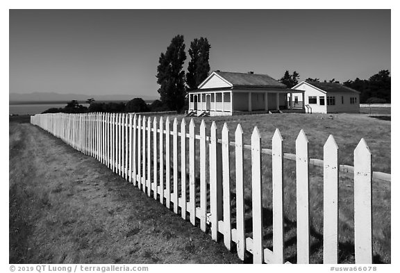 White picket fence, American Camp, San Juan Island National Historical Park. Washington (black and white)
