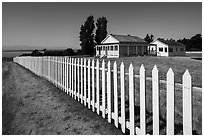 White picket fence, American Camp, San Juan Island National Historical Park. Washington ( black and white)