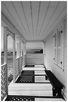 Porch of Officers Quarters, American Camp, San Juan Island National Historical Park. Washington ( black and white)