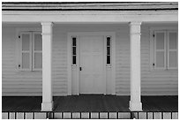 Facace of Officers Quarters, American Camp, San Juan Island National Historical Park. Washington ( black and white)