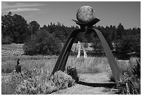 San Juan Islands Museum of Art Sculpture Park,  Roche Harbor, San Juan Island. Washington ( black and white)