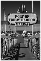 Deck, Friday Harbor marina, San Juan Island. Washington ( black and white)