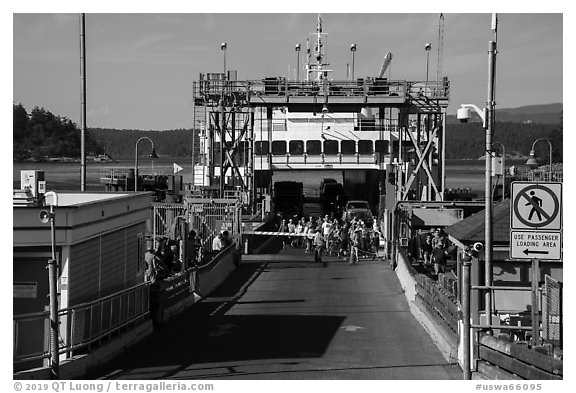 Ferry arrival, Friday Harbor, San Juan Island. Washington (black and white)