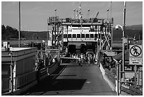 Ferry arrival, Friday Harbor, San Juan Island. Washington ( black and white)