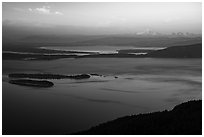 Rosario Strait and Mount Baker at sunset. Washington ( black and white)