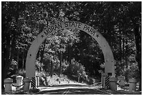 Entrance arch, Moran State Park. Washington ( black and white)