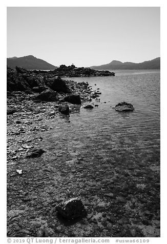 Indian Island shore, San Juan Islands National Monument, Orcas Island. Washington (black and white)
