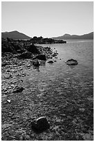 Indian Island shore, San Juan Islands National Monument, Orcas Island. Washington ( black and white)