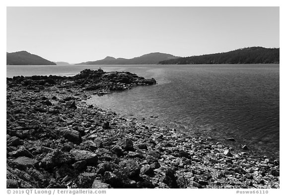 East Sound and Indian Island, San Juan Islands National Monument, Orcas Island. Washington (black and white)