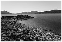 East Sound and Indian Island, San Juan Islands National Monument, Orcas Island. Washington ( black and white)