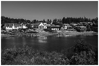 Eastsound from Indian Island, Orcas Island, San Juan Islands National Monument, Orcas Island. Washington ( black and white)