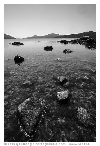 East Sound from Indian Island shore, San Juan Islands National Monument, Orcas Island. Washington (black and white)