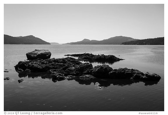 Rock islets and East Sound, Indian Island, San Juan Islands National Monument, Orcas Island. Washington (black and white)