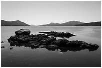 Rock islets and East Sound, Indian Island, San Juan Islands National Monument, Orcas Island. Washington ( black and white)