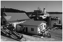 Ferry at terminal, Orcas Island. Washington ( black and white)