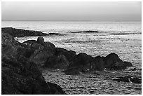 Rocky coastline and Salish Sea, Iceberg Point, San Juan Islands National Monument, Lopez Island. Washington ( black and white)