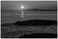 Sunset over Salish Sea, San Juan Islands National Monument, Lopez Island. Washington ( black and white)