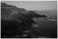 Coastline and moon, Iceberg Point, San Juan Islands National Monument, Lopez Island. Washington ( black and white)