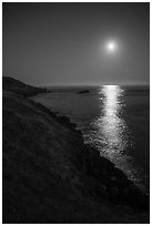Moon over Salish Sea, San Juan Islands National Monument, Lopez Island. Washington ( black and white)