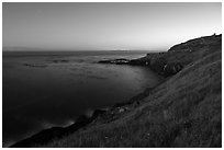 Moonlit coastline near Iceberg Point, San Juan Islands National Monument, Lopez Island. Washington ( black and white)