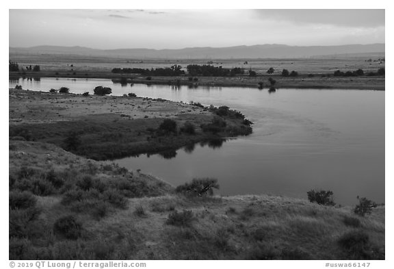 Columbia River and Rattlesnake Mountains at sunset, Hanford Reach National Monument. Washington (black and white)
