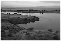 Columbia River and Rattlesnake Mountains at sunset, Hanford Reach National Monument. Washington ( black and white)