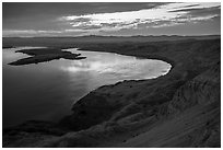 Sunset over Columbia River from White Cliffs, Hanford Reach National Monument. Washington ( black and white)