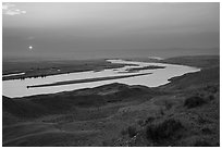 Sun setting over Columbia River, Hanford Reach National Monument. Washington ( black and white)