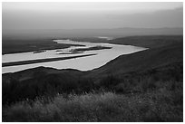 Summer sunset over Columbia River, Hanford Reach National Monument. Washington ( black and white)