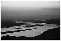Columbia River and islets at sunset, Hanford Reach National Monument. Washington ( black and white)