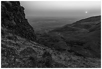 Volcanic outcrop and rising sun, Saddle Mountain, Hanford Reach National Monument. Washington ( black and white)