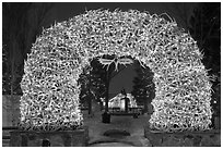 Arch of shed elk antlers at night. Jackson, Wyoming, USA ( black and white)